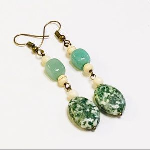 Long Tree Jasper, Aventurine, & Howlite Earrings